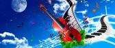 Abstract wallpaper - Music is love guitar and piano