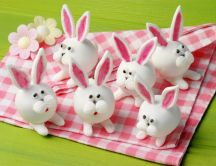 Funny bunny on picnic made from eggs - Happy Easter Holiday