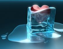 Hot heart in a cube of ice - Love melt ice