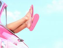 Barbie Girl with pink car and pink flip flop shoes - Summer