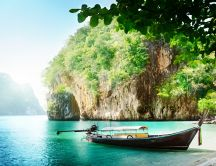 Boat in the wonderful water of Thailand islands