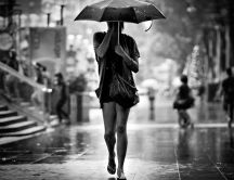 Walk into the rain with an umbrella - HD wallpaper