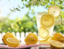 Fresh lemon juice in a hot summer day - Drink more