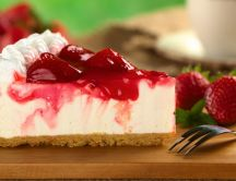 Delicious slice of strawberry cheese cake