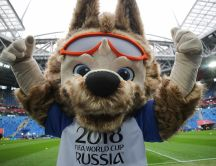 Happy fox mascot for Fifa World Cup Russia 2018 - Live sport