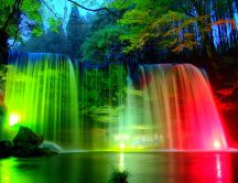 Wonderful colorful lights on the waterfall - HD natural park