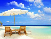 White sand and blue water - Wonderful summer holiday beach