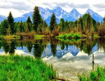 Wonderful mountain lake - Mirror in clear cold water