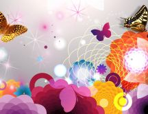 Colorful wallpaper flowers and butterflies abstract photo