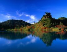 Wonderful blue lake and green nature - Asia wallpaper