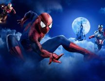 Super wallpaper with heroes - Spiderman Captain America Iron