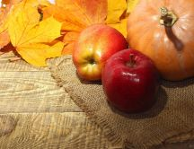 Pumpkin and apples - Autumn fruits food and vitamin