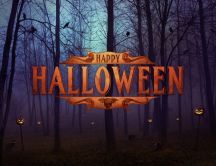 Happy Halloween night - Party in the forest with pumpkins