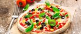 Pizza homemade with basil and pepper - Delicious food