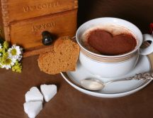 Bread sugar and sweet coffee with cinnamon - Love breakfast