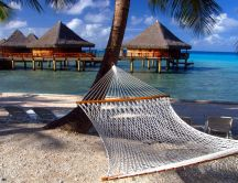 Relaxing time on a hammoc in Maldive Islands- Holiday summer