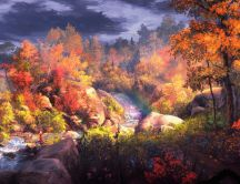 Fantasy painting - Beautiful forest in Autumn season