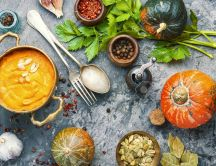 Delicious Autumn food - Pumpkin cream soup with garlic