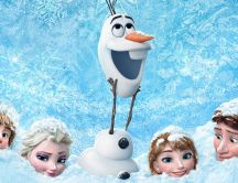 Frozen movie - Happy Olaf and friends Queen Ana and Elsa