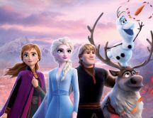 Scene from Frozen 2 - Queen Ana sister Elsa and Olaf
