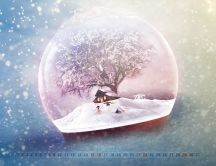 Wonderful magic love time in a crystal globe - Winter season