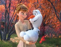 Spring time on Frozen - Princess Anna and Olaf the snowman