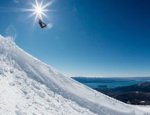 Wonderful jump with snowboard - Winter sport on the mountain