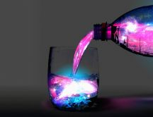 The magic water from the bottle - Wonderful 3D wallpaper