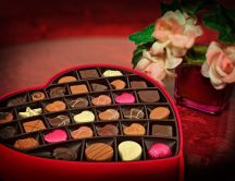 Happy Valentines Day with a box full with chocolate