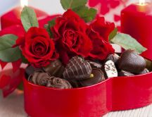 Heart box full with chocolate - Happy Valentines Day
