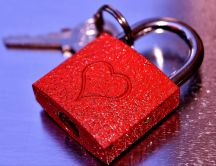 The symbol of love- Lock key red with heart - Valentines Day