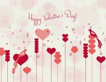 Music and romantic bird dance on Valentines Day HD wallpaper