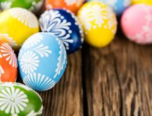 Wonderful painted coloured eggs - Easter spring holiday 2020