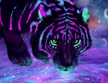 Tiger digital art computer wild animal - HD wallpaper