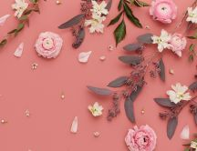Pink flowers on the coral background color - HD wallpaper