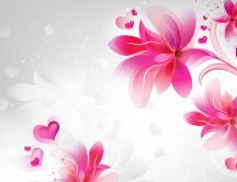 Pink flowers and hearts - Romantic HD wallpaper