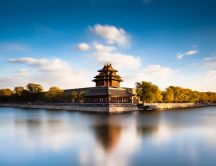 Wonderful temple near water -Peace and calm nature landscape