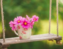Wonderful pink flowers on a wooden swing - HD wallpaper