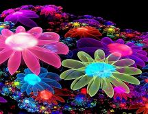 Wonderful digital art design - 3D flowers computer work